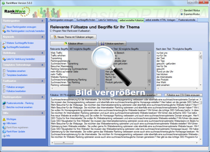 Texte in der Doorway Page Software